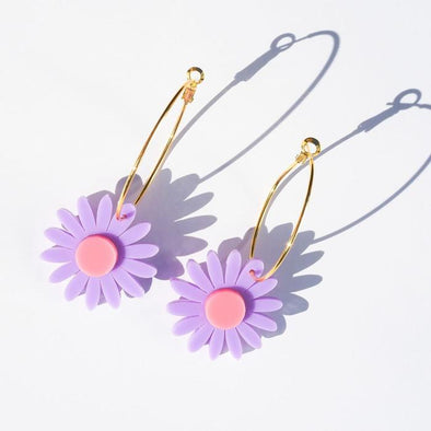 Daisy Earrings - Mauve and Bright Pink