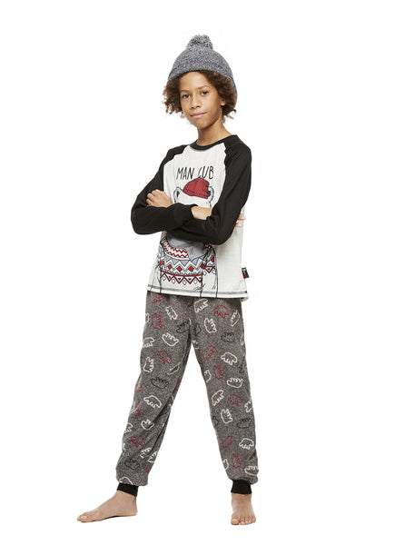 Family Holiday Pajamas, Boys 2-Piece Pajama Set with Knit Hat, Bearly Awake