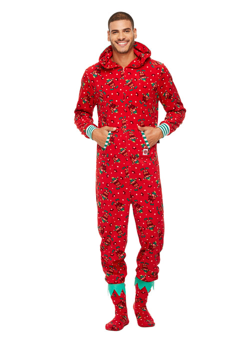 Family Holiday Pajamas, Mens Blanket Sleeper Onesie with Hood and Matching Slippers, Red Fun