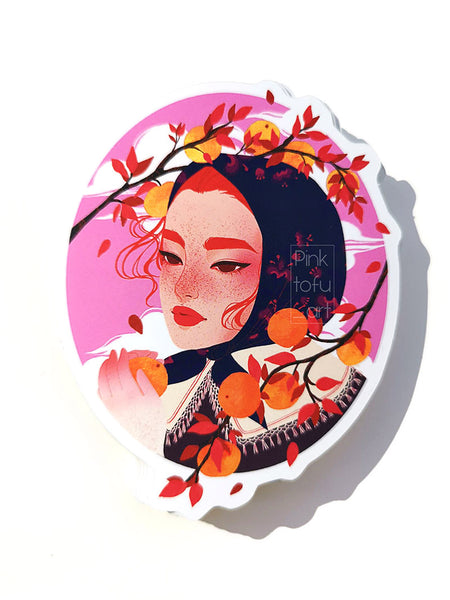 """Orange witch"" - Mirror vinyl sticker"