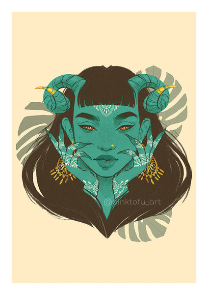 """Green demon""- art print"