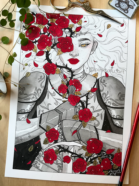 """Thorns and roses""- original ink painting (inktober 2019)"