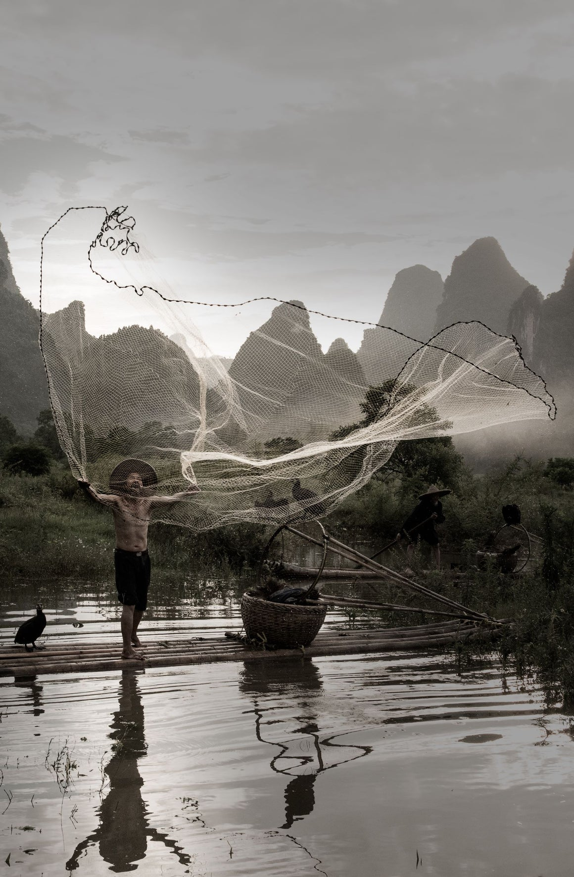 Cormorant fisherman throwing a giant fishing net into the water