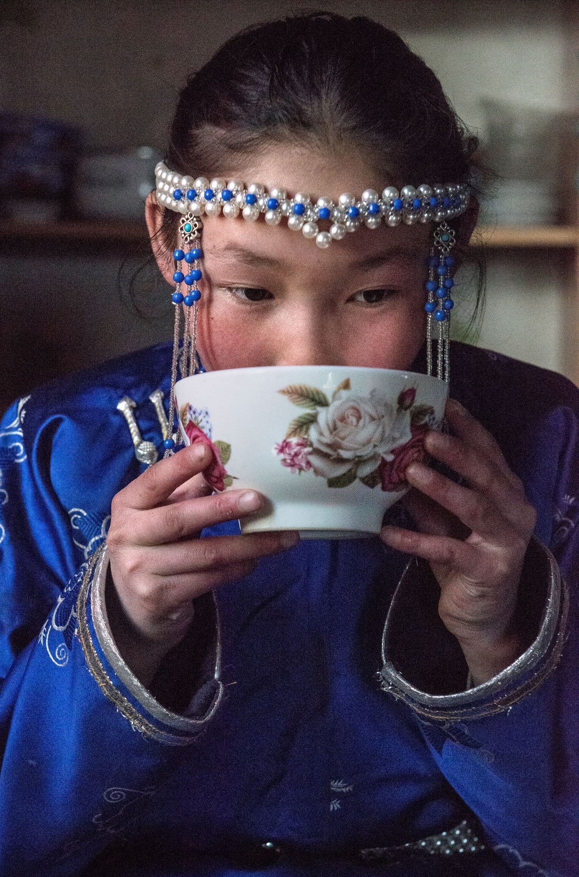 hot tea bowl with goat or camel's milk