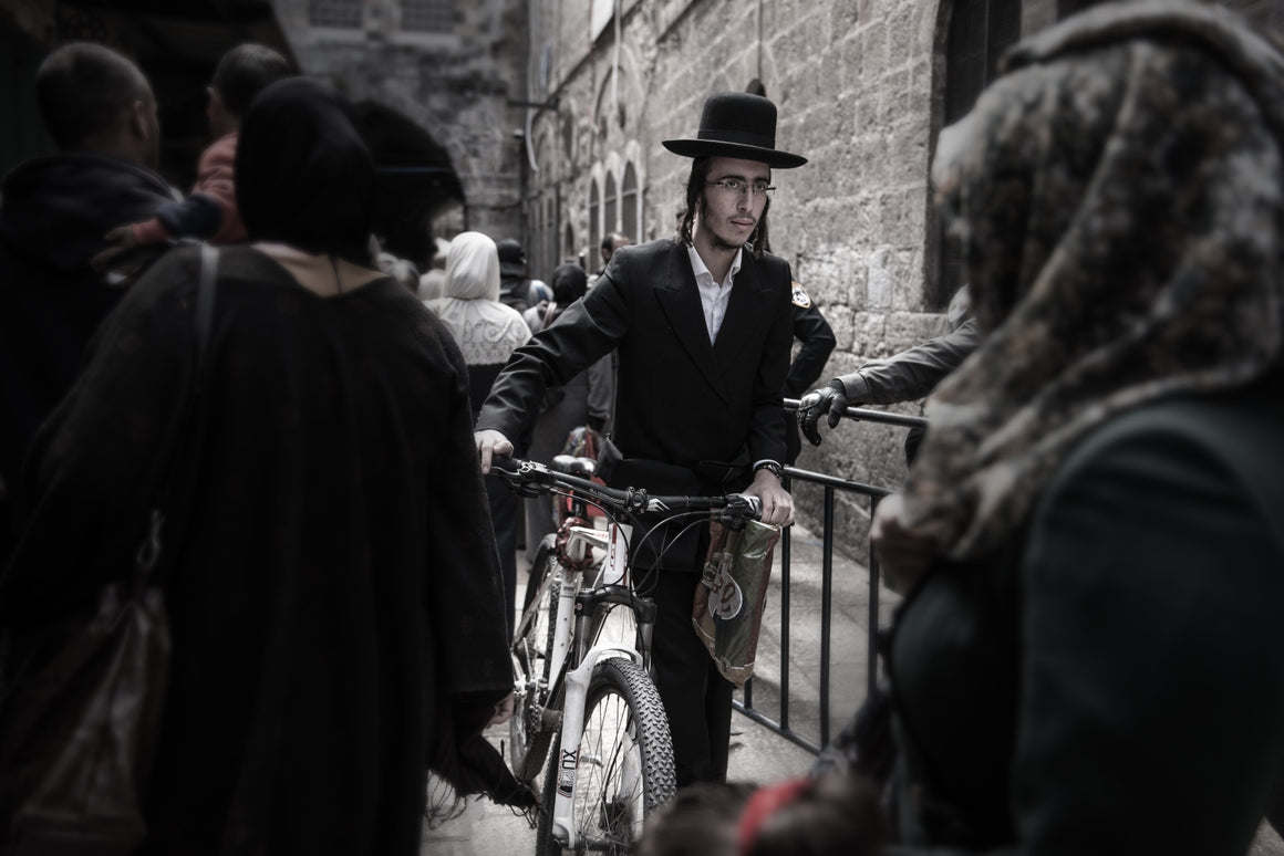 Hasidik jew on the way to the wailing wall