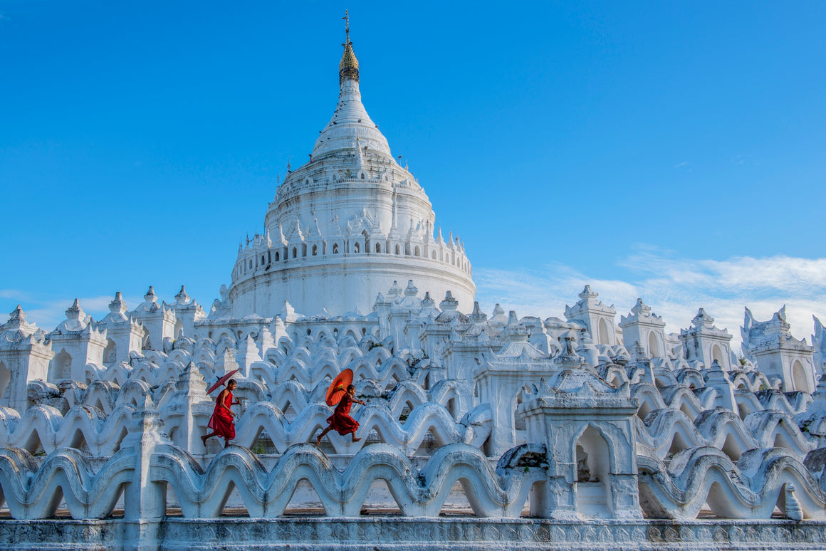 Hsinbyume pagoda, the white temple in Myanmar