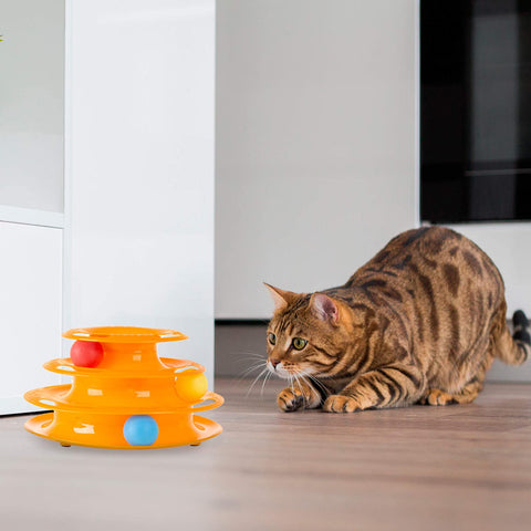 Interactive Cat Toy Ball Roller Tower- 3 Level Tiered Round Track with Rolling Balls for Cats and Kittens for Active Exercise, Play