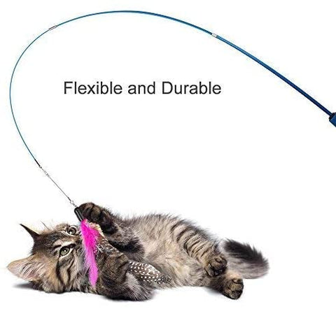 Feather Teaser Cat Toy, Retractable Cat Feather Toy Wand with 5 Assorted Teaser with Bell Refills, Interactive Catcher Teaser for Kitten Or Cat Having Fun Exerciser Playing