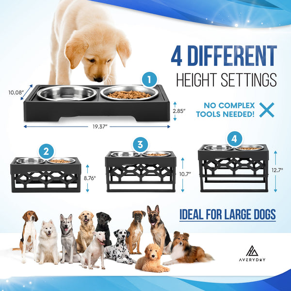 AveryDay® Elevated Dog Bowls- 4 Adjustable Height + 4 Stainless Steel Bowls