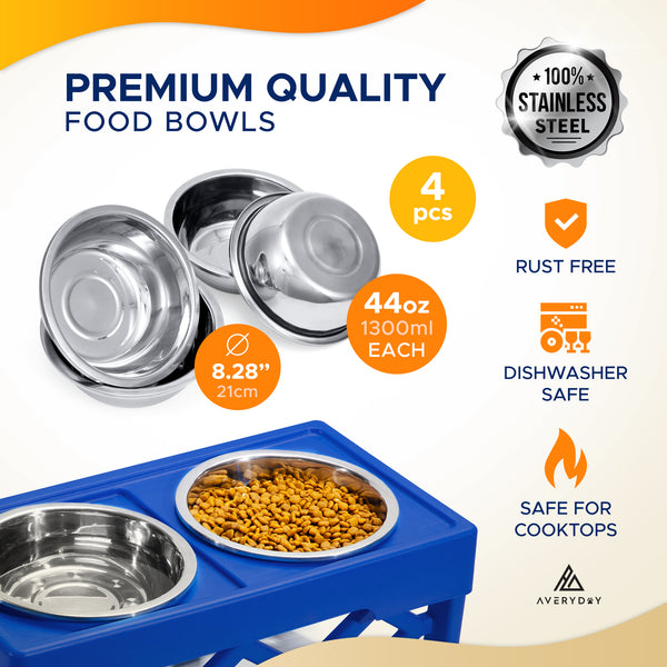 AveryDay™ Raised Dog Bowls- 4 Adjustable Height & 4 Stainless Steel Bowls (Blue)