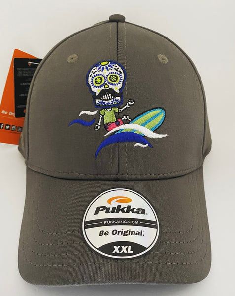 Sugar Skull Golf Surfer Fitted Hat - Charcoal XXL