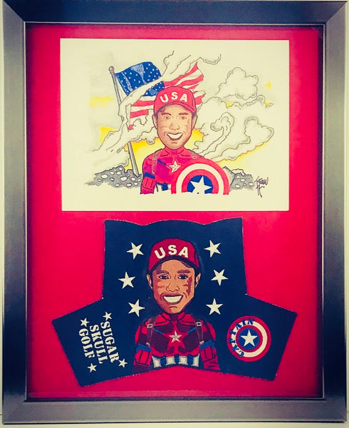 "Framed ""Captain"" USA and Special Head Cover Drawing 16"" X 20"""