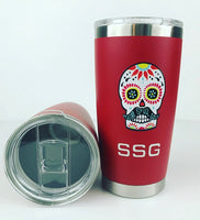 Sugar Skull Golf Stainless Vacuum Tumbler - Red