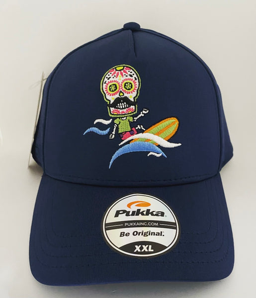 Sugar Skull Golf Surfer Fitted Hat - Navy XXL