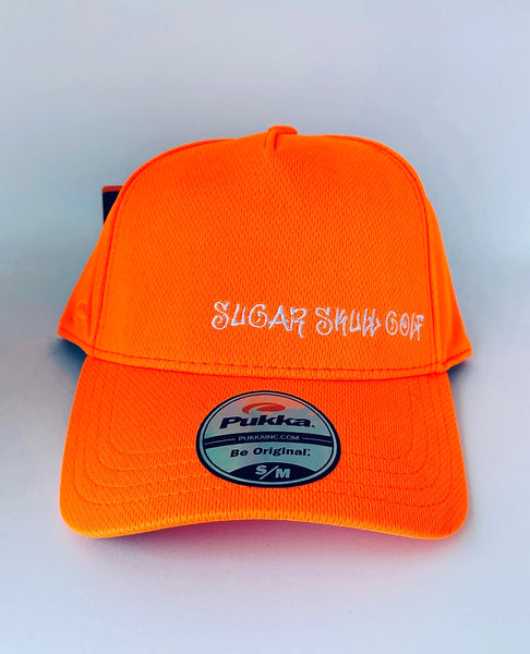 Sugar Skull Golf Script Fitted Hat - Orange S / M