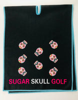 Microfiber Sugar Skull Golf Waffle Towel in Black 40 X 16