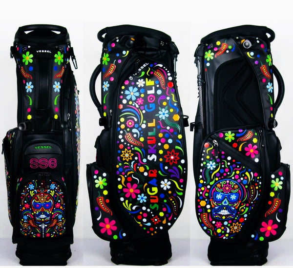 Sugar Skull Golf Vessel Player 2.0 Black Stand Bag