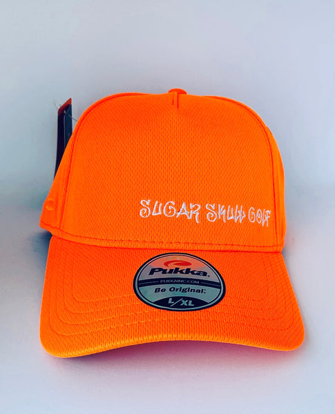 Sugar Skull Golf Script Fitted Hat - Orange L/ XL