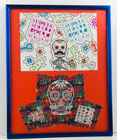 "Framed Dia de los Muertos Art & Head Cover Drawing 16"" X 20"""
