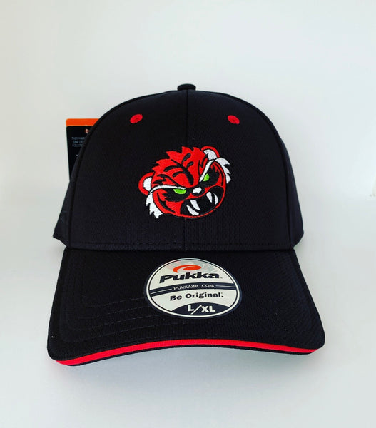 Sugar Skull Golf Angry Tiger Fitted Hat - Black L/XL