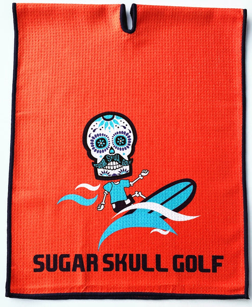 Microfiber Sugar Skull Golf Orange Surfer Waffle Towel - 40 X 16