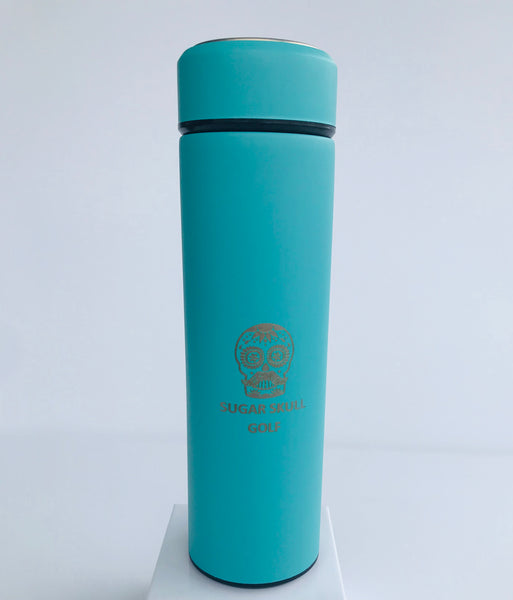 Sugar Skull Golf Stainless Vacuum Flask - Light Blue