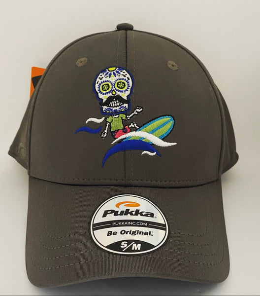 Sugar Skull Golf Surfer Fitted Hat - Charcoal S/M