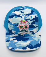 Sugar Skull Golf Camo/Mesh Hat - Blue
