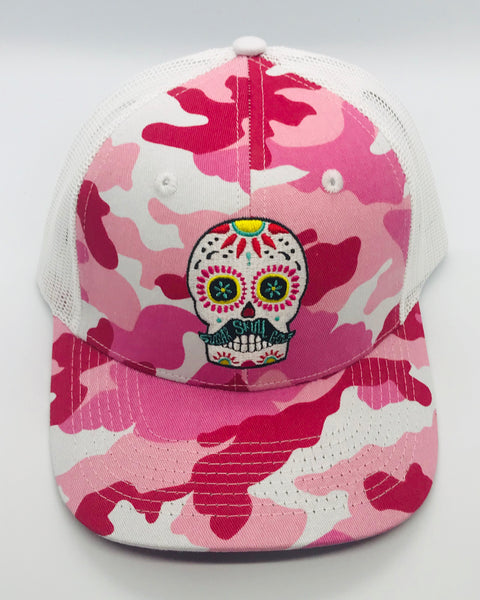 Sugar Skull Golf Camo/Mesh Hat - Pink/White