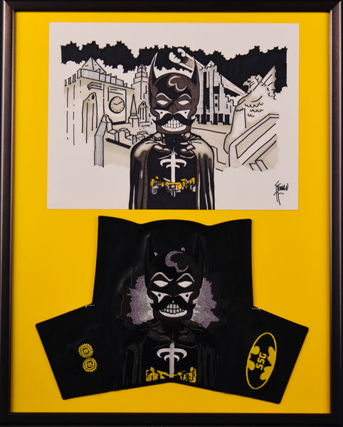 "Framed Batman and Special Head Cover Drawing 16"" X 20"""