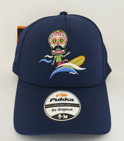 Sugar Skull Golf Surfer Fitted Hat - Navy S/M