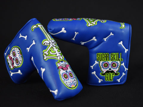 Sugar Skull Golf Stock Putter Cover - Blue & Lime Green