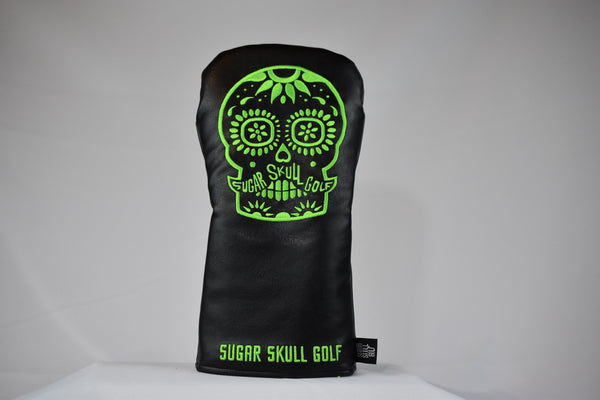 Sugar Skull Golf *NEW STYLE* Black/Lime Green Driver Headcover *Preorder*