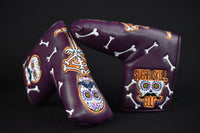 Sugar Skull Golf Stock Putter Cover - Purple & Orange