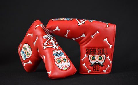 Sugar Skull Golf Stock Putter Cover - Red & Black