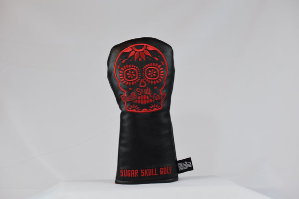Sugar Skull Golf *NEW STYLE* Black/Red Fairway Headcover *Preorder*