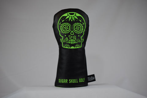 Sugar Skull Golf *NEW STYLE* Black/Lime Green Fairway Headcover *Preorder*