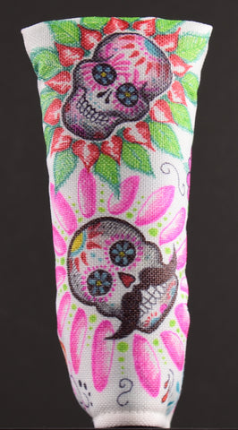 Sugar Skull Golf Hand Drawn Nylon Putter Cover #1