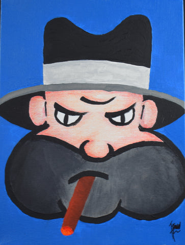 "Acrylic Mob Boss Canvas Painting with Colored Pencil Shading 12"" X 9"""