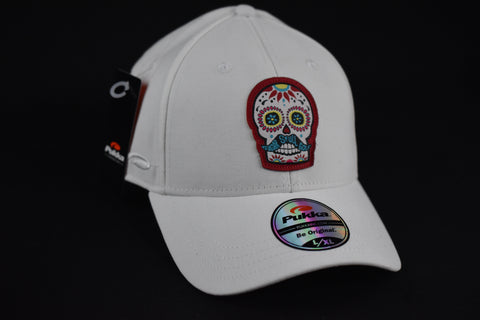 Sugar Skull Golf Fitted Hat - White L / XL