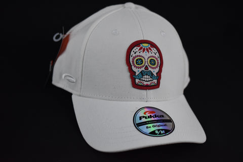 Sugar Skull Golf Fitted Hat - White S / M