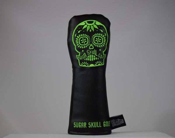 Sugar Skull Golf *NEW STYLE* Black/Lime Green Hybrid Headcover *Preorder*