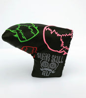 Multicolor Skulls Black Mid Mallet Putter Headcover *New Style Stock*