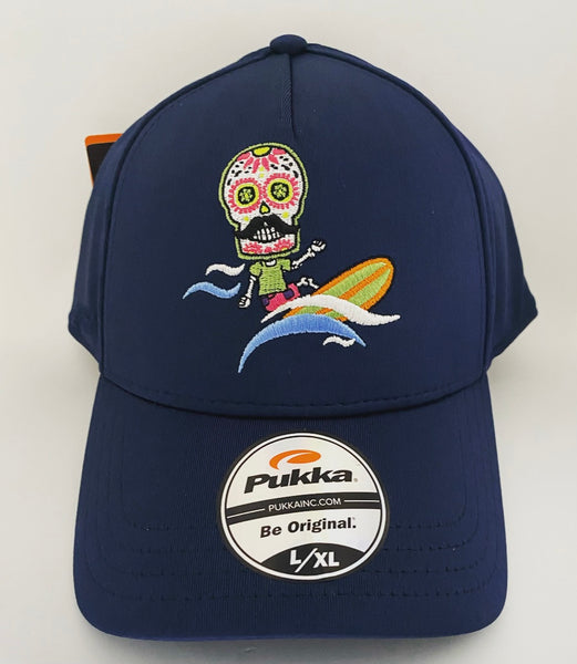 Sugar Skull Golf Surfer Fitted Hat - Navy L/XL