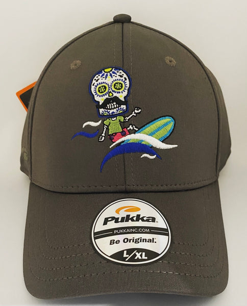 Sugar Skull Golf Surfer Fitted Hat - Charcoal L/XL