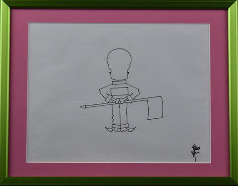 "Framed Original Concept Masters Caddy Drawing 11"" X 14"""