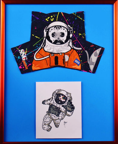 "Framed Astronaut Special Cover and Drawing 16"" X 20"""