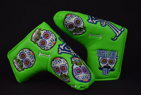Sugar Skull Golf *Limited Release* Putter Cover - Lime Green
