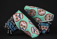 Sugar Skull Golf *Limited Release* Patchwork Style Putter Cover - Robin Egg Blue / Black