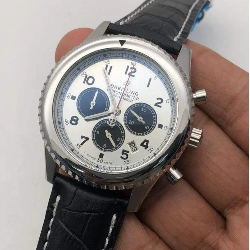 First Copy Breitling Chronometer Pilot White Dial Silver Tone Men's Watch